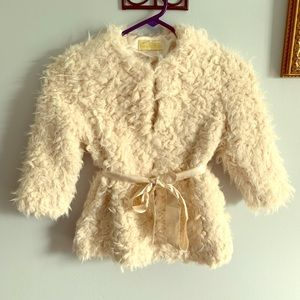 2/$15! Donna Salyers soft plush fur coat with tie